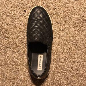 Black quilted Steve Madden slip on sneakers